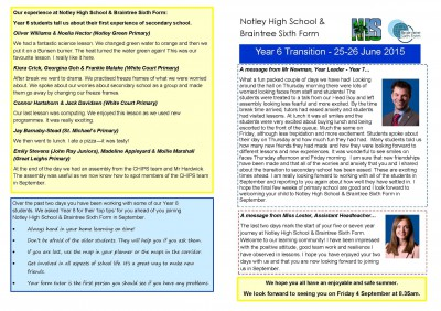 Year 6 Transition Newsletter - June 2015