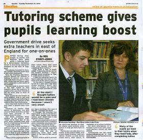 Tutoring scheme gives pupils learning boost