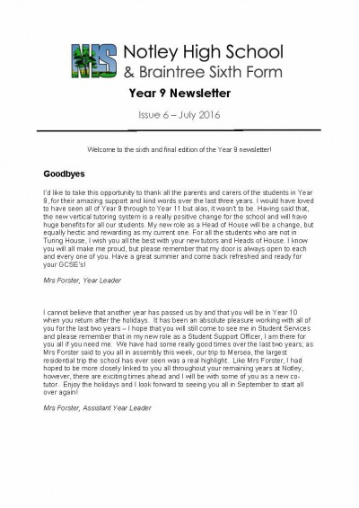 Year 9 Newsletter - Issue 6