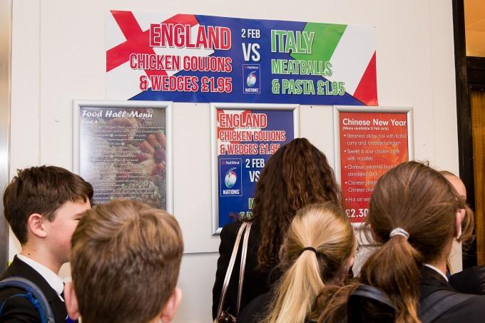 Food Hall Italy vs England Rugby - Notley High School