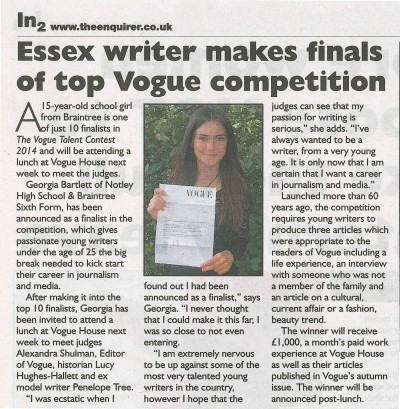 Essex Writer Makes Finals of Top Vogue Competition