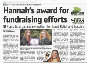 Hannah's Award for Fundraising Efforts