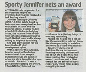 Sporty Jennifer Nets an Award