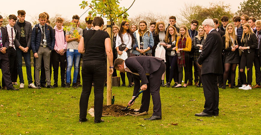 Tree planting in memory of Jake Whiteside