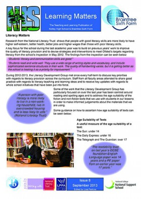 Learning Matters: Issue 8 - September 2013