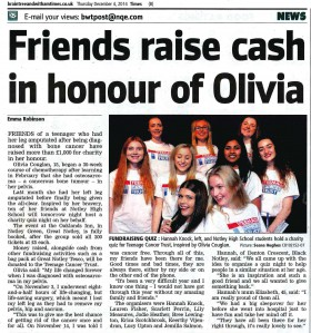 Friends Raise Cash in Honour of Olivia