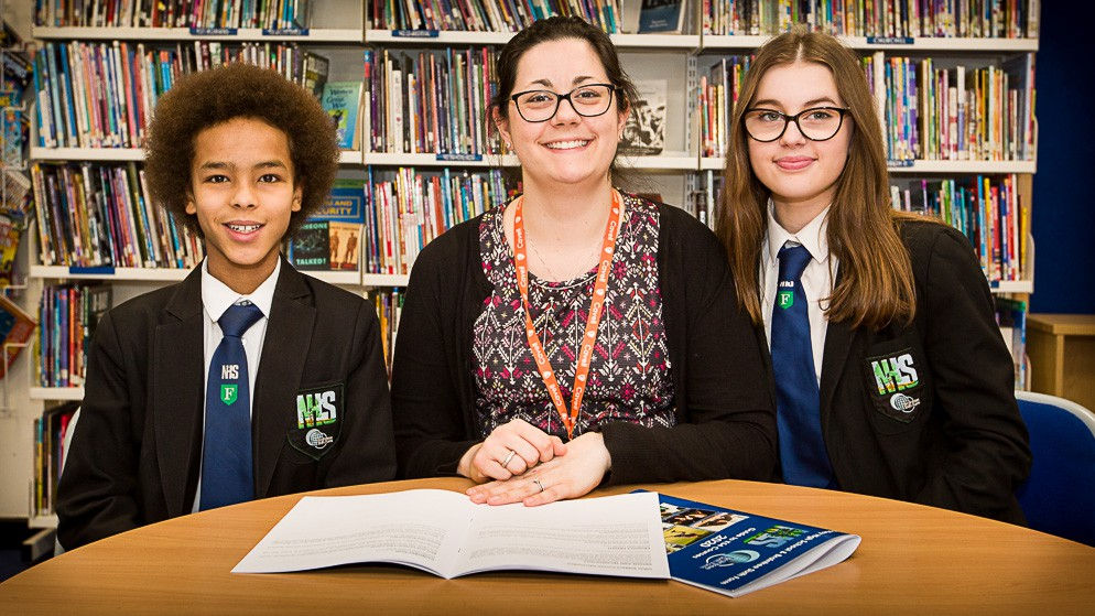 Mrs Godfree, Assistant Headteacher - KS3, with two of our Year 9 students.