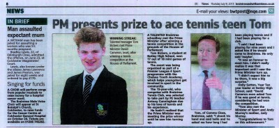 PM Presents Prize to Ace Tennis Teen Tom