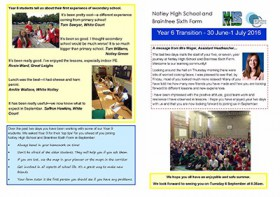 Year 6 Transition Newsletter - July 2015