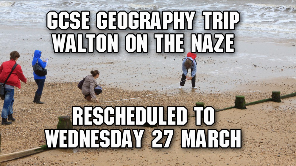 Walton-on-the-Naze Trip: Rescheduled to 27 March